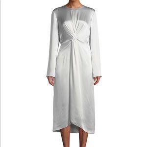 Vince Asym Pleated Silk-Satin Dress